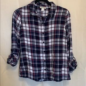 Francesca's Blue Plaid Flannel Button Down Shirt